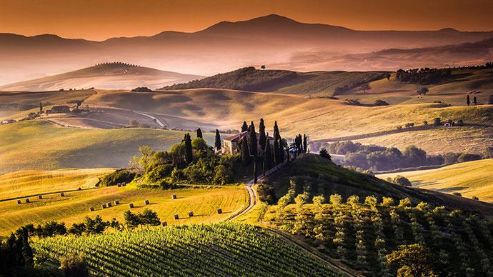 Заказать тур с дегустацией вина (фото итальянского пейзажа)